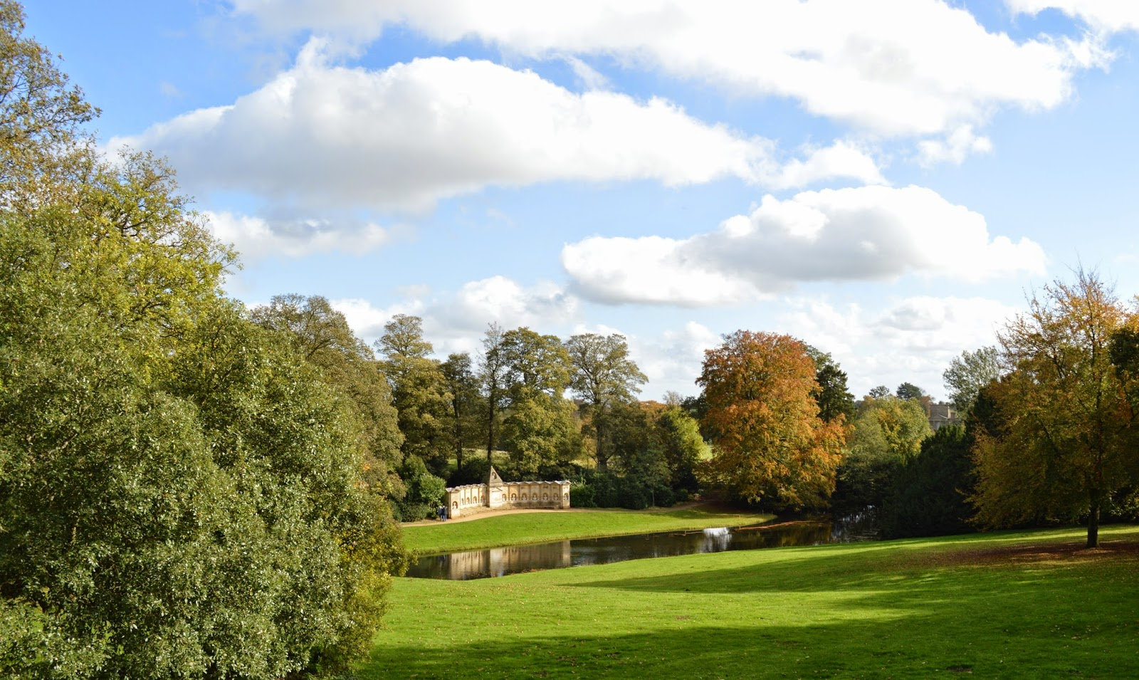 Stowe, day trip, visit, colours, Autumn, trees, nature, orange, yellow, conkers, sunny day, traditional, activity, UK, England, blue sky, elm, oak, chestnut, stream, lake, reflection