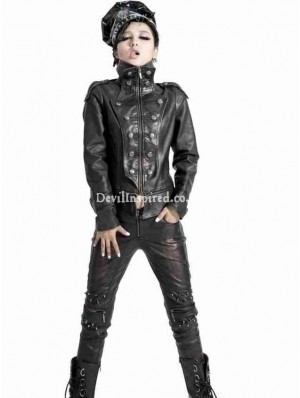 Black Gothic Punk Leather Jacket for Women