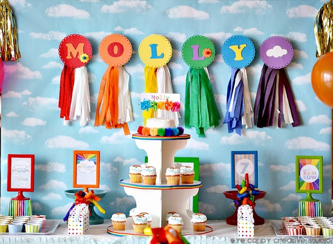 rainbow party backdrop, rainbow party decor ideas, rainbow party table set up
