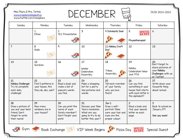 December Calendar Kindergarten : Miss pliura s kindergarten class december calendar