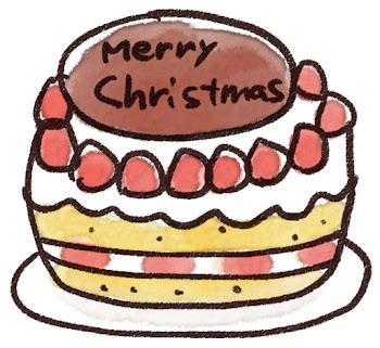 クリスマスケーキのイラスト「苺ケーキ」