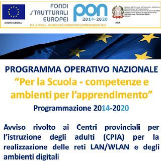 PON 2014/2020 - Avviso  ambienti digitali e laboratori nei Centri Provinciali per l'Istruzione degli Adulti (CPIA)