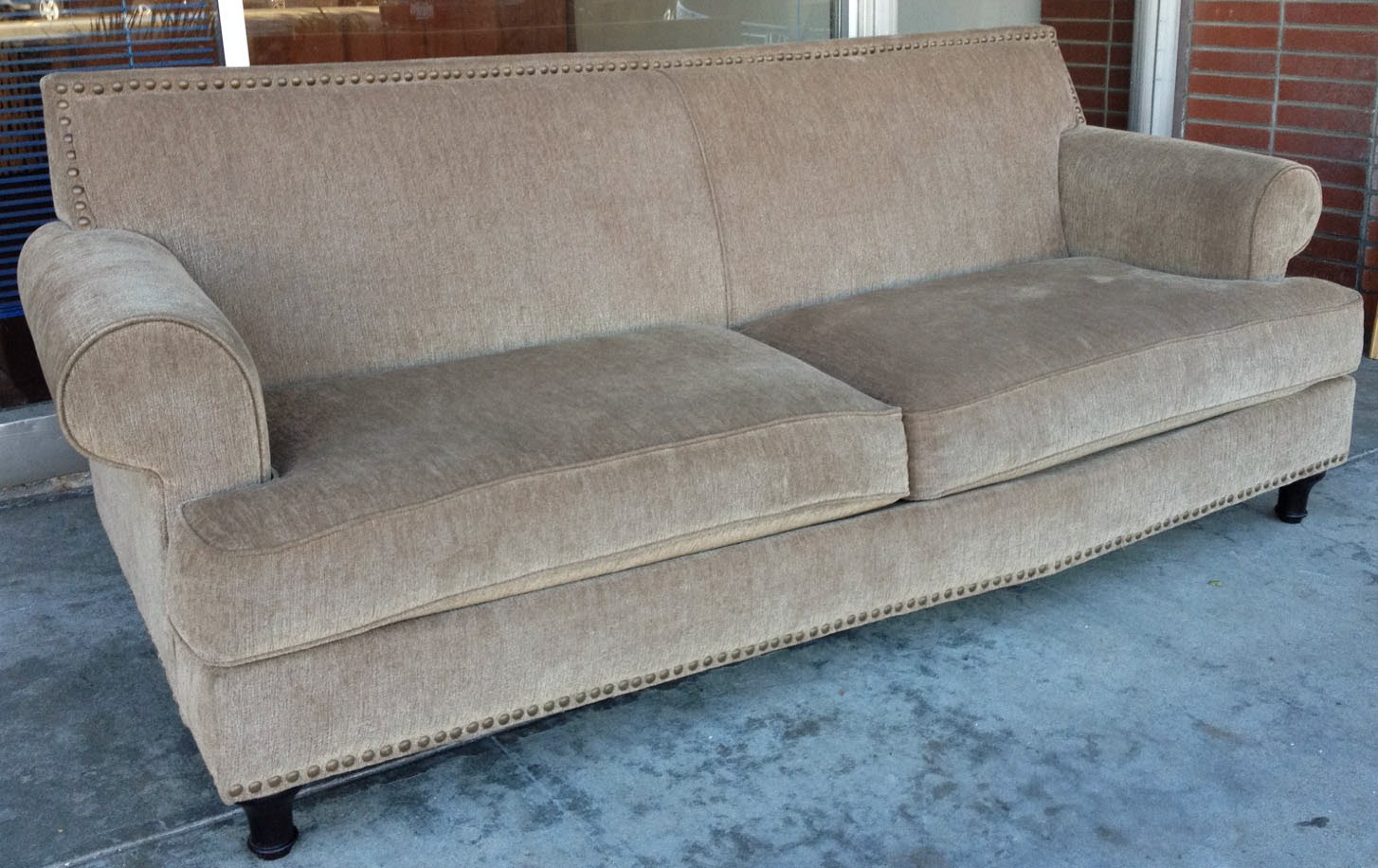 Uhuru furniture collectibles sold metal studded sofa 165 for Studded sofa