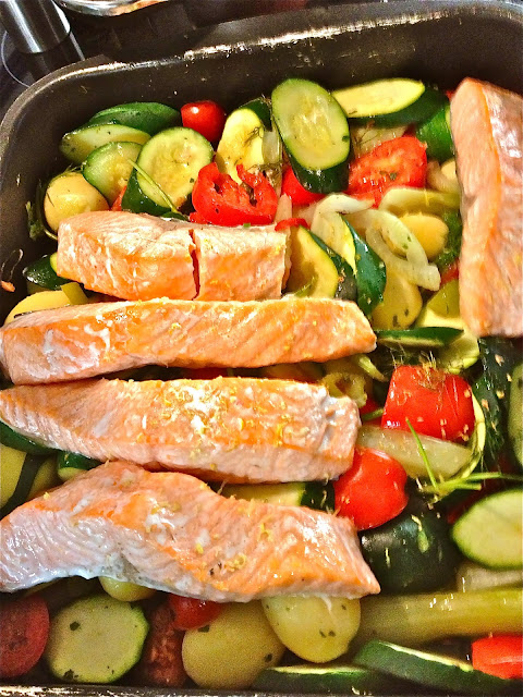 Tray Baked Salmon on Mediterranean Vegetables