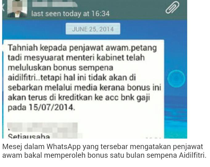 BONUS SEMPENA AIDILFITRI BAGI PENJAWAT AWAM Cuepacs jawab tentang mesej whatsapp