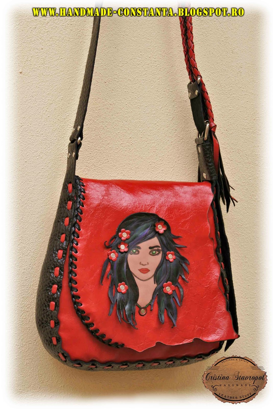 Red leather bag / girl with flowers in hair.