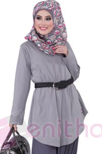 Zenitha Blus Zn115 - Abu Abu (Toko Jilbab dan Busana Muslimah Terbaru)