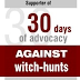 30 Days of Advocacy - Against Witch-Hunts