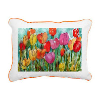 floral fabric on toss pillow