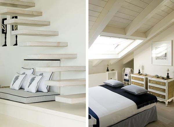 detalle de asiento de obra bajo escalera y comodas dormitorio