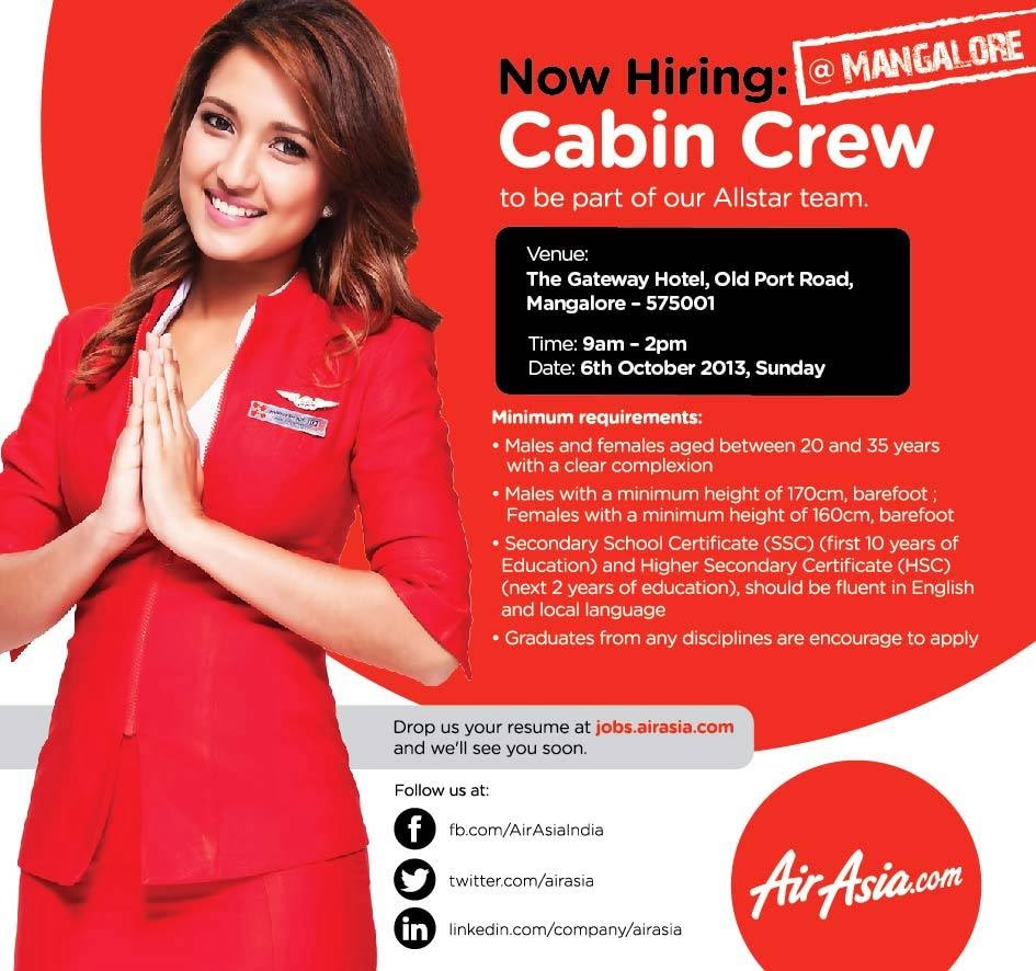 Fly Gosh Air Asia India Cabin Crew Walk In Interview