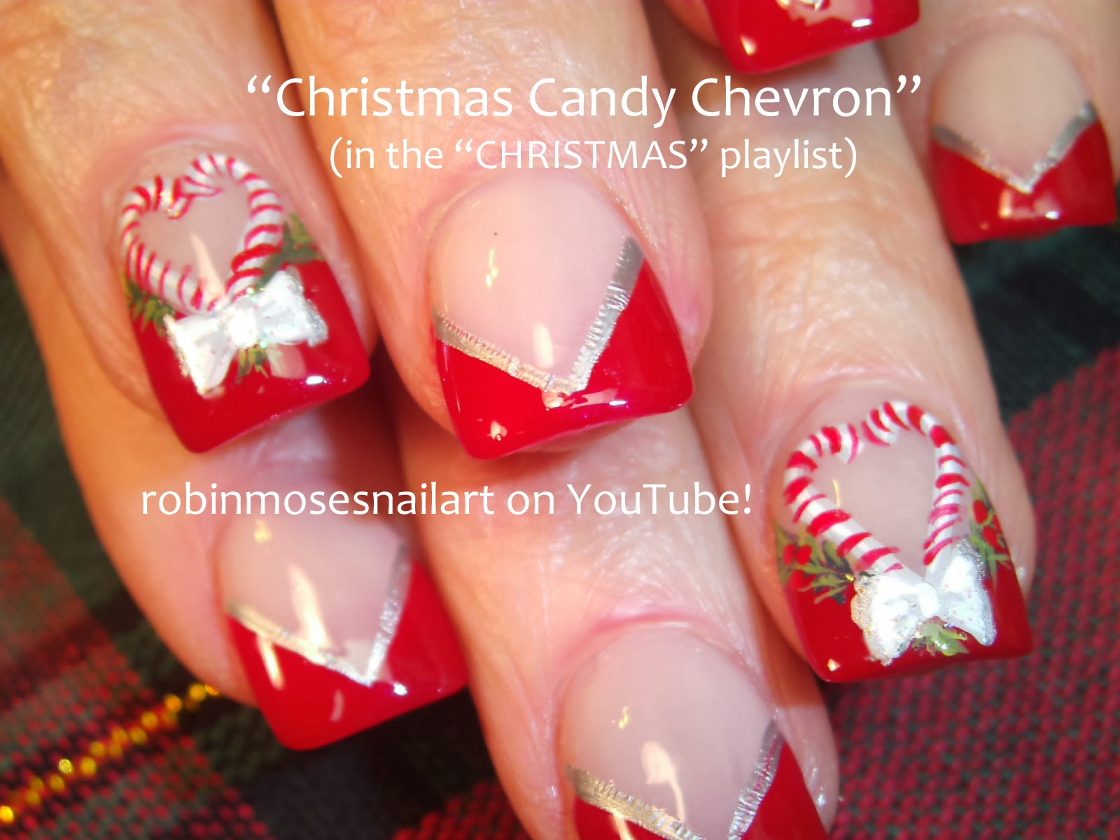 Candy Cane Christmas Nail