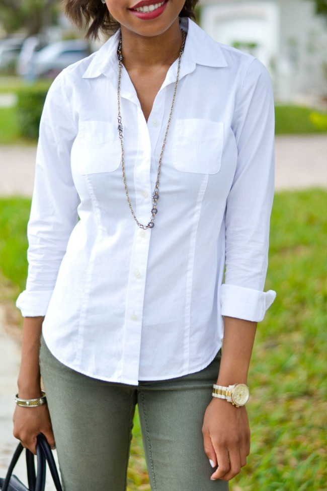 Spring Work Outfit | Olive Skinnies, White Button-down