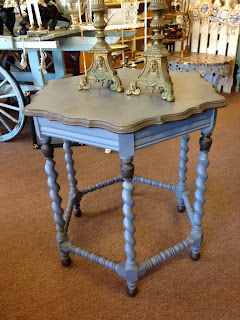 Painted occasional table with barley twist legs at The Painted Hutch