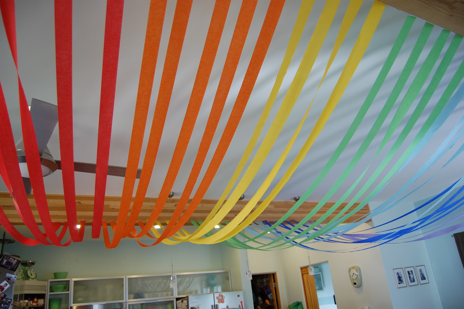 Quotcquot is for crafty rainbow birthday party for Ceiling streamers