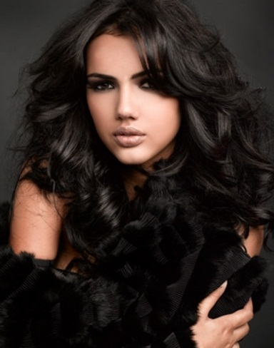 Long Black Curly Hair Style 2014