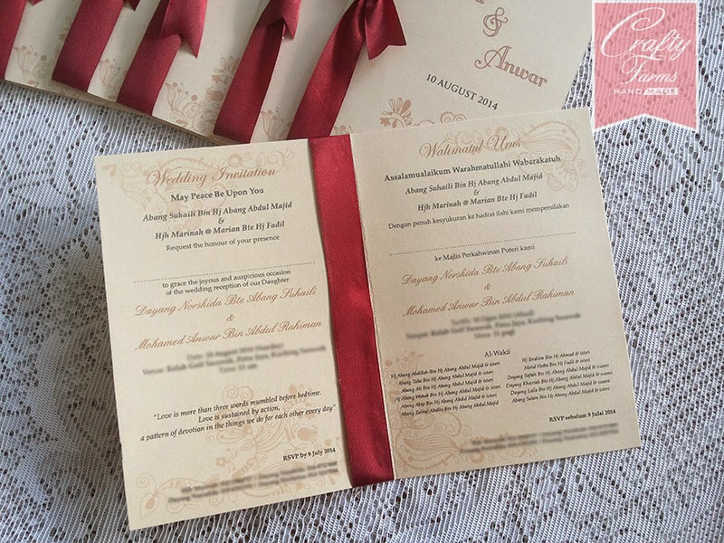 Golf Club Sarawak Kad Kahwin, Classic Side Fold Malay Wedding Card with Maroon Ribbon