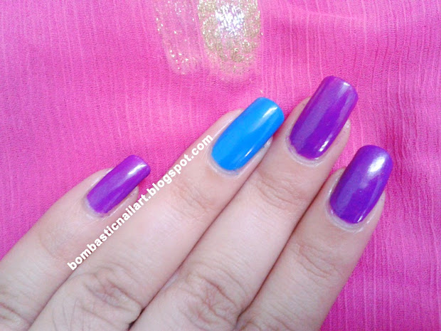 purple and blue striping tape nail