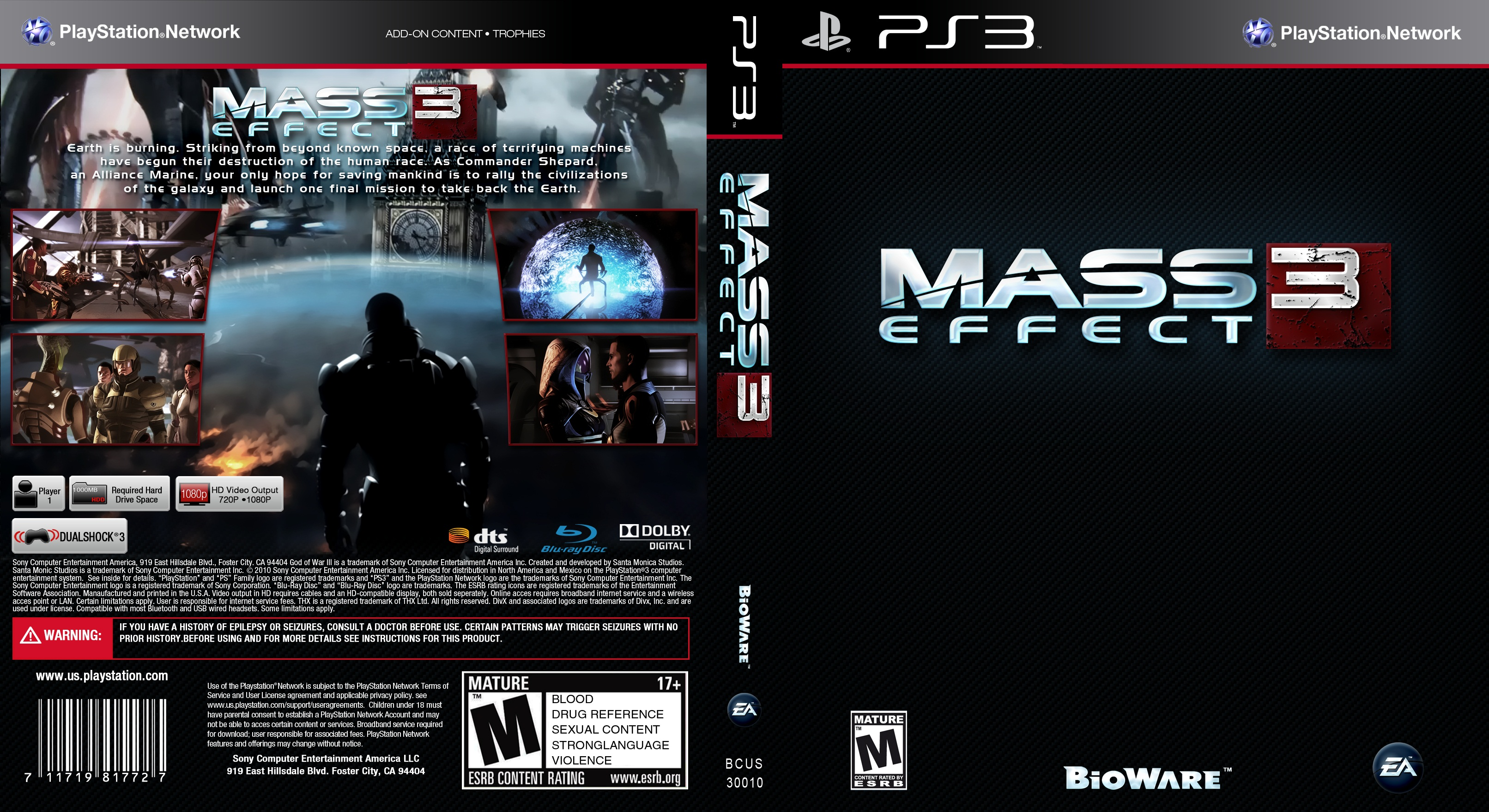 Capa Mass Effect 3 PS3