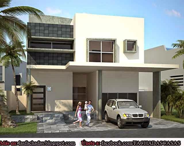 Fachadas de casas modernas con cochera fachadas de casas - Decoracion de cocheras modernas ...