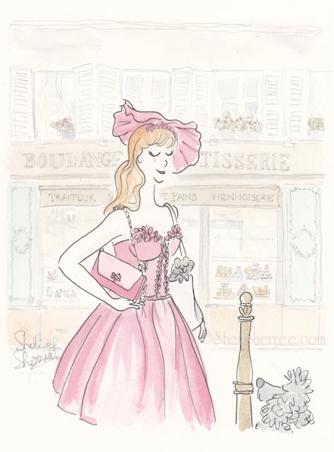 Fashion and fluffballs illustration :  Agent Violet and the Enigmatic Eclair © Shell-Sherree