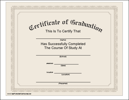 Free Printable Graduation Certificates