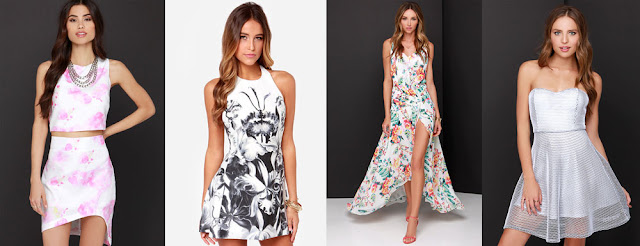 Spice up your white dress wardrobe with simple, flirty patterns and florals, like these four dresses from LuLu's!