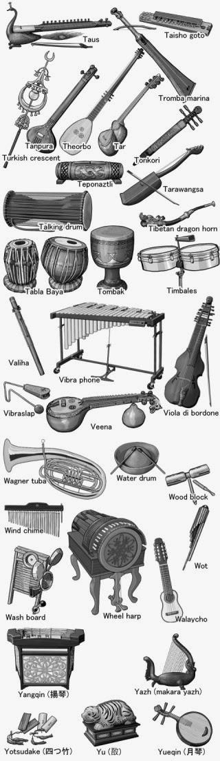 楽器のイラスト 白黒 World musical instruments monochrome illustration