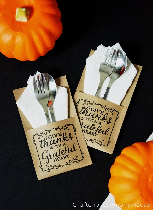Thanksgiving Printable Utensil Holder