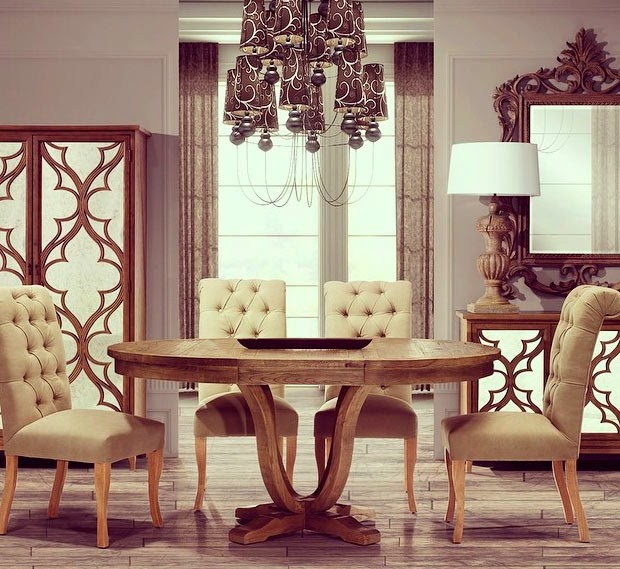 Kr un comedor con mucho encanto con sillas tapizadas en for Sillas capitone comedor