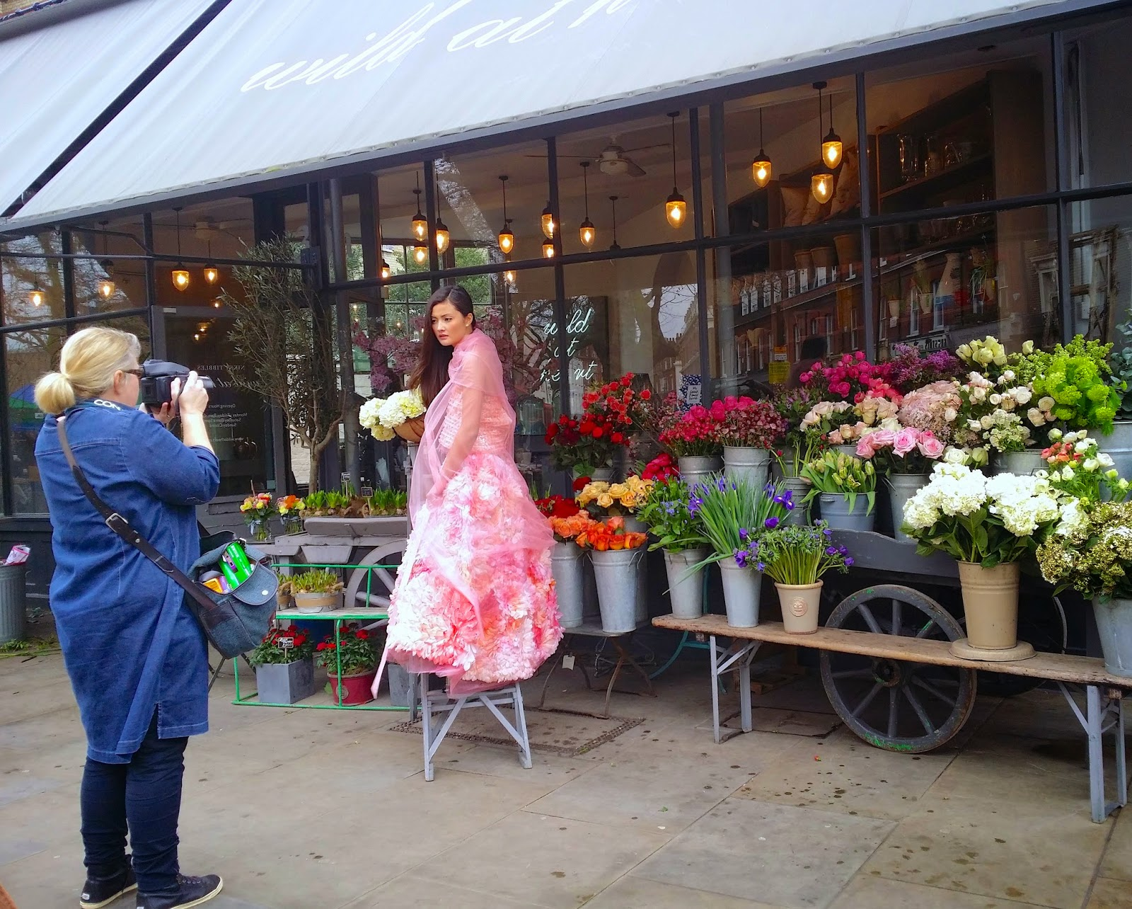 A flower photo shoot in London