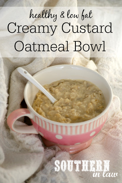 Sugar Free Custard Oatmeal Bowl Recipe | healthy, low fat, gluten free, sugar free, dairy free, clean eating friendly