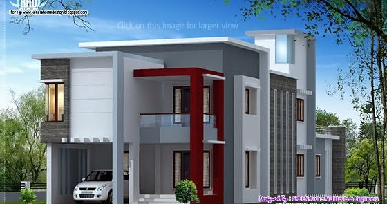 1700 Flat Roof Contemporary Home Design Kerala