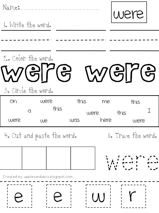 Part they sight 2 Word  Sight worksheets Mania word