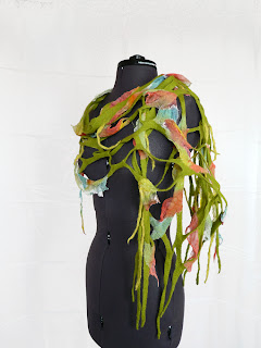 wool felted fish net scarf