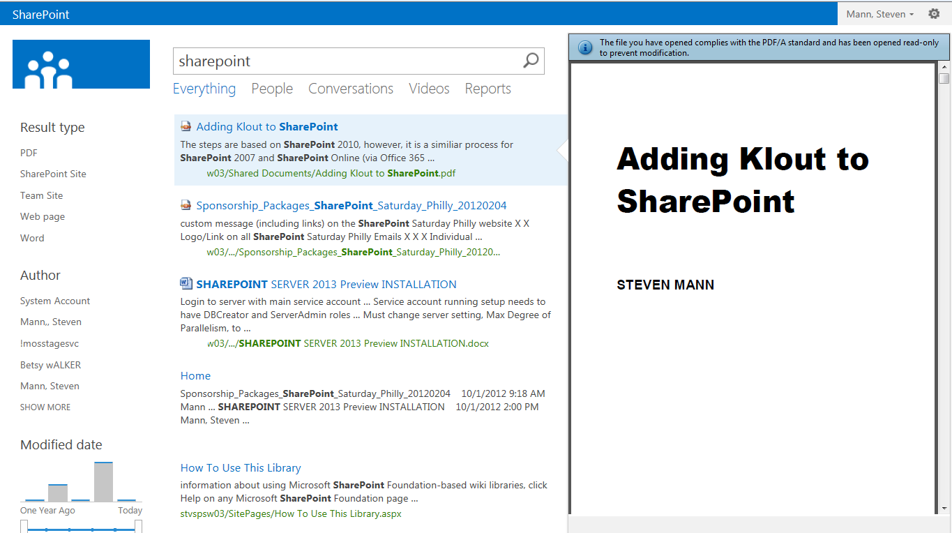 Stevemanns Path Sharepoint 2013 Pdf Preview In Search Results