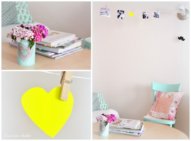 pastel and neon home decor: photo bunting and pastel chair