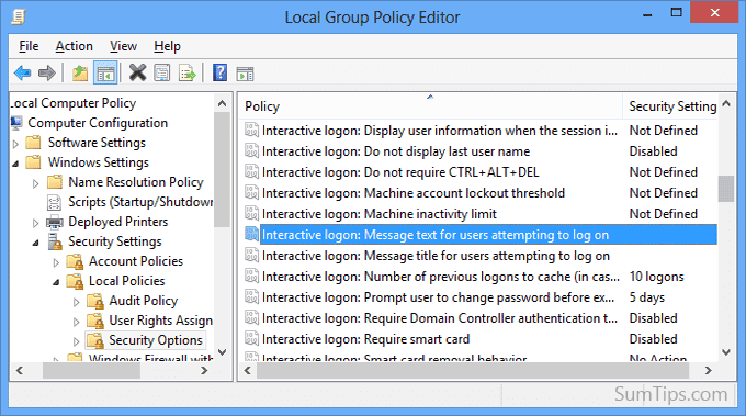 startup message group policy editor