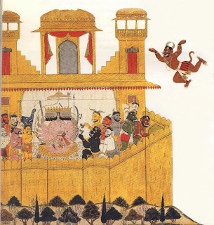 While Ravana sits in council of war, the demon spy Suka, after being released the Rama, flies back to warn Ravana of the approach of Rama's army.