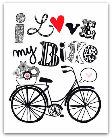I love my bike illustration