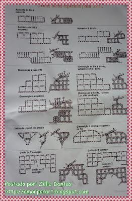 Dicas de crochê filé - aumentos e diminuições- curso básico de crochê