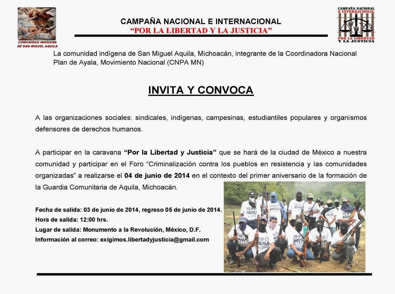 FORO de Denuncia y Apoyo a Aquila Michoacán MOCRI-CNPA-MN 3-5 Junio