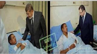 بالصور...الرئيس محمد مرسي يزور مريض في المعادي وهشام قنديل يزور نفس المريض في البدرشين