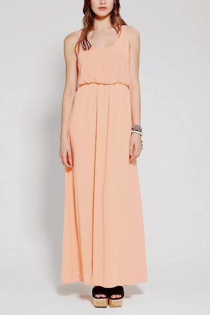 Bisque Color Breezy Chiffon Maxi Dress