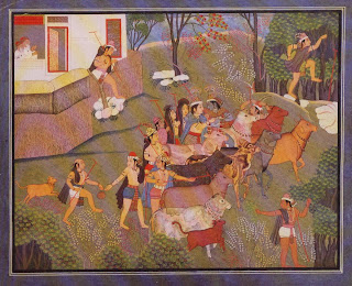 Illustration from a Bhagavatapurana Series: Cowherds Taking Their Cows to Pasture
