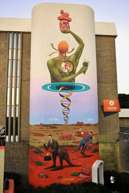 While you discovered some images from WAONE's mural a few days ago, Interesni Kazki's other half AEC was also in Perth for the Public Street Art Festival.
