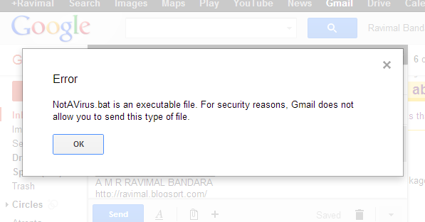 how to send exe file in gmail