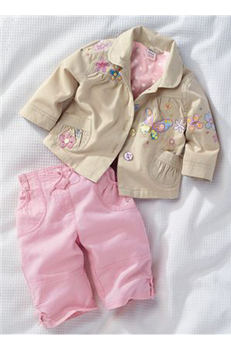 ملابس طفل مكونة من جاكيت وبنطال متناسقة للاولاد والبنات
