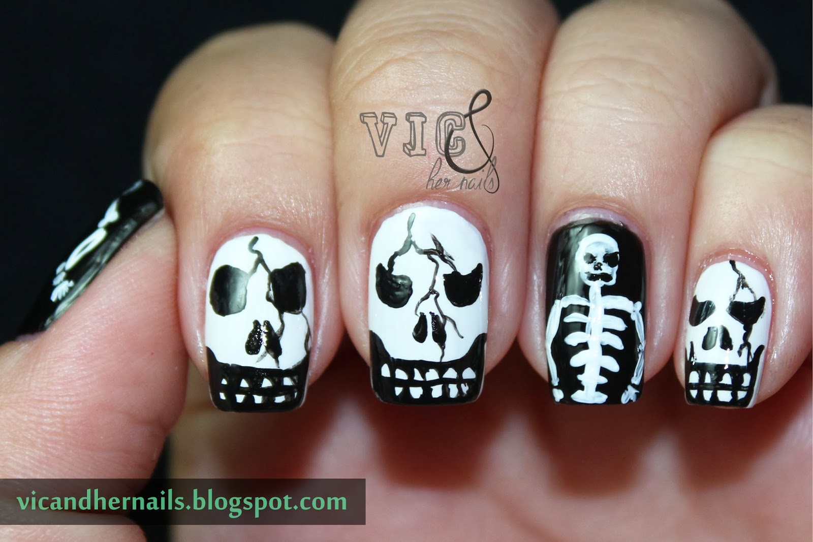 Vic And Her Nails Halloween Nail Art Challenge Skullskeleton