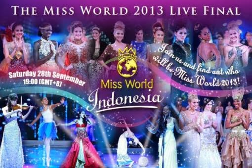 Miss World 2013 live finals on September 28 at 7:30 PM, local time